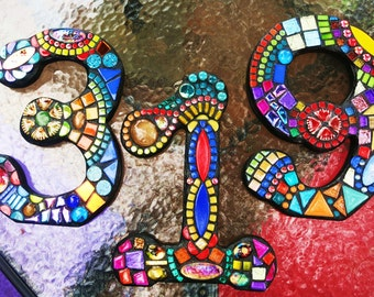 "MOSAIC HOUSE NUMBERS - 7"" Tall - Customizable - Mixed Media Mosaics - Unique 'Wild & Funky' Style - Order 7"" Size From This Listing - Ooak!"