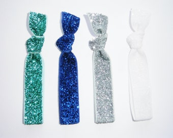 Set of 4 Glitter Hair Tie Package by Crimson Rose Cottage - Blue, Turquoise, Silver and White Glitter Hair Ties that Double as Bracelets