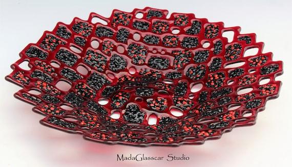 Molten Lava Fused Glass Bowl