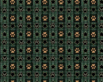 Quilting Treasures It's A Ruff Life Paw Print and Star Check Eucalyptus fabric - 1 yard