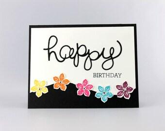 Joyeux anniversaire fleur à la main une carte tamponnée - Stampin Up carte - d'anniversaire - carte - carte avec fleur - carte à la main