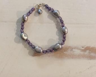 Silver Purple freshwater pearl bracelet