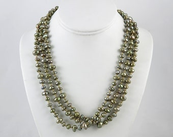 Silver Gray Long Strand Pearl Necklace
