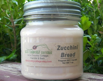 ZUCCHINI BREAD SOY Candle - Bakery Candles, Bread Candles, Scented Candles, Soy Candles, Square Mason Jar Candles