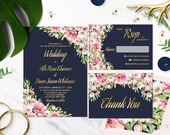 Navy and gold wedding invitation, printable floral wedding invitation, Faux gold foil wedding invitation sets and suite, Blush invitation
