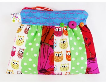 owl pouch, owl school kit, owl make up case, rainbow pouch, patchwork Pouch, patchwork make up case, patchwork school kit
