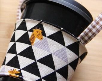 A86 Fabric coffee cup holder / Fabric coffee cozy / cup sleeve / drink sleeve / reusable coffee sleeve