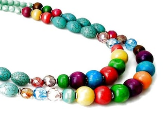 Multicolor and Multibeaded Double Strand Necklace
