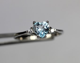 CLEARANCE  Brilliant Genuine Sky Blue Topaz Heart in a Pretty Accented Sterling Silver Setting