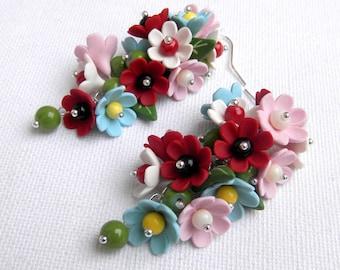Colourful Earrings Flower Earrings Dangle Earrings Handmade Earrings Polymer Jewelry Floral Jewelry Fashion Jewelry Flowers MADE TO ORDER