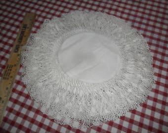 "Matching set of 6 Vintage Linen Round 10 1/2"" diameter Doilies w/Handcrochted Edging"