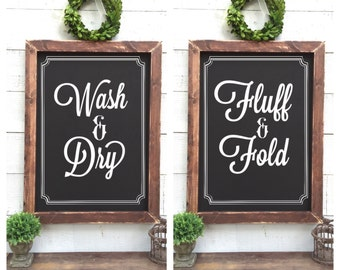 Laundry Chalkboards, SET OF 2, wash and dry, fluff and fold