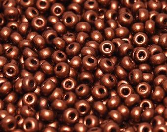 20gr 8/0 Czech Glass Seed Beads Rocailles, Copper (8SB056)