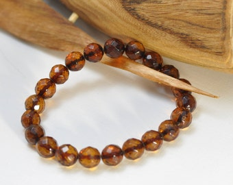 Baltic amber faceted beads bracelet