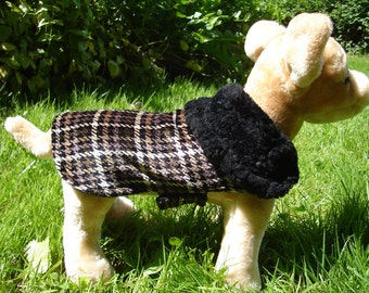 Night Out Houndstooth Upcycled Velour Coat- Size XX Small- 8 to 10 Inch Back Length