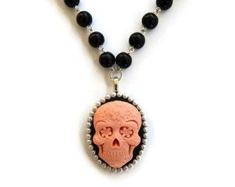 Pink Sugar Skull Necklace, Black Beaded, Day of the Dead, Dia de los Muertos, Spooky, Halloween, Rockabilly Beaded necklace