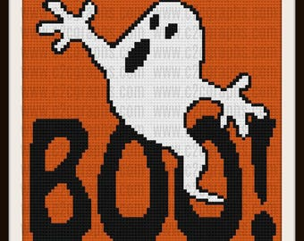 BOO C2C Graph, Halloween Afghan, C2C Graph, & Written Word Chart