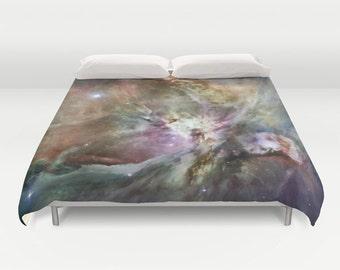 Orion Nebula 2 Duvet Cover, Black Decorative bedding, unique design, Space, Dorm bedding, Noir, Goth, Steampunk, Nature, Planets Stars