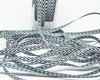 Striped Chevron Twill Ribbon -- 1/4 inch -- Black White