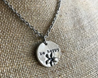 Personalized Flower Necklace - Personalized Disc Necklace - Circle Necklace -Hand Stamped Necklace-Personalized  Gift- Statement Necklace