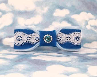 Blue Bow Tie: Boys Bow Tie Clip-on Bow Tie Blue and White Bow
