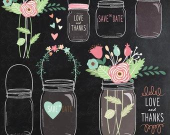 """Chalkboard Mason jar clipart: """"CHALKBOARD MASON JAR"""" clip art, chalkboard flower, chalkboard wedding, chalkboard mason jar, invitation Wd038"""