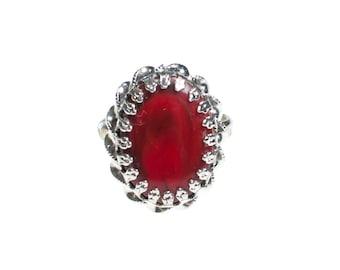 Vintage ART Mode Faux Red Coral Adjustable Ring