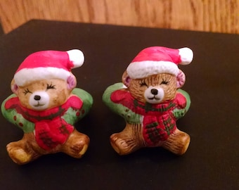 Vintage Candle Huggers, Taper huggers, Teddy Bears made in Taiwan, hand painted