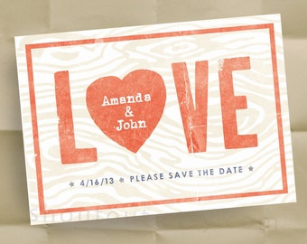 Custom LOVE Save the Date Invitations - Personalized Woodgrain Wedding Announcements - 100 Postcards