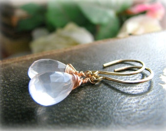 Love Rose Quartz Gold Earrings - Gold Filled Rose Filled Dangle Drop Pale Pink Pastel Simple Dainty - Gift Sister Best Friend Mother