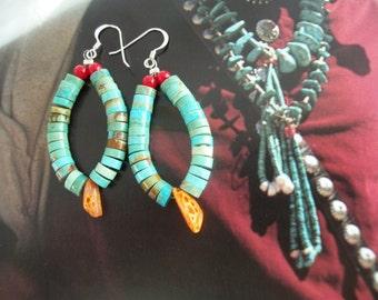 Turquoise Heishi Earrings ~ Hoop Earrings ~ Native American Navajo Style Jacla Earrings ~ Southwest Earrings ~ Gift Box