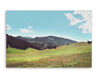 """large canvas wall art, large wall art, large colorful landscape wall art, landscape on canvas, large art, mountains - """"As Far as I Can See"""""""
