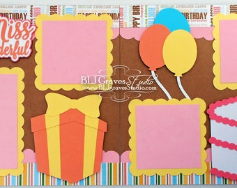 2 Premade First Birthday Girl Baby Scrapbook Pages 12x12 Layout Paper Piecing Handmade 25