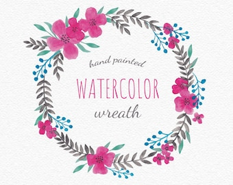 Hand painted Turquoise Gray Leaf Wreath, Pink Flower Wedding Clipart, Floral Quote Frame, DIY Invitation. Digital download