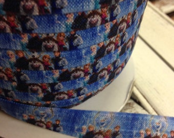 Frozen Characters Fold Over Elastic - 5 Yards