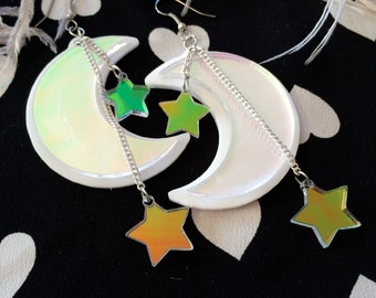 The Moon and Stars Laser Cut Acrylic Earrings
