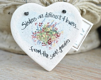 Valentine's Day gift for Sister Salt Dough Heart Ornament / Birthday or Mother's Day Gift