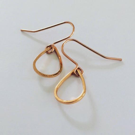Delicate Rose Gold Tone Teardrop Earrings - Simple - Modern - Geometric - Stylish