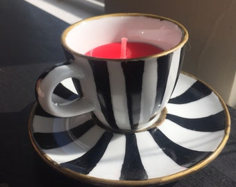 Alice in wonderland inspired teacup candle