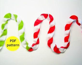 Felt garland decor PATTERN easy cute Christmas Valentine Birthday party twist banner ornament Handmade DIY craft project PDF instructions