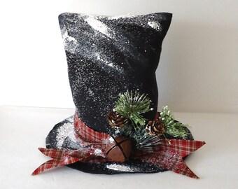 Christmas tree topper Snowman Top Hat, Snowmen, Frosty Snow man, Winter Home Decor, Fast shipping