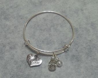 SALE! April crystal birthstone bracelet, Charm bracelet !