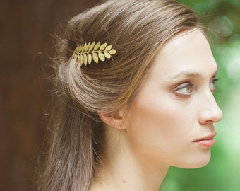 Gold Leaf Bobby Pin Laurel Hair Clip Bride Bridal Bridesmaid Botanical Nature Garden Rustic Woodland Wedding Accessories Womens Gift For Her