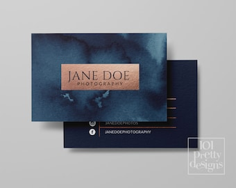 Watercolor business card template rose gold printable business card design gold and navy business cards business card rose gold foil makeup