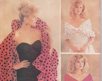 Wrap Pattern Scarf Drape Shawl  All Sizes Uncut  1988  Butterick 6982