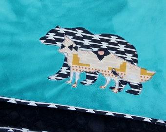 Bear and Fox Blanket, Minky Baby Blanket, Ready to Ship, Woodland Baby Blanket, Aztec Baby Blanket