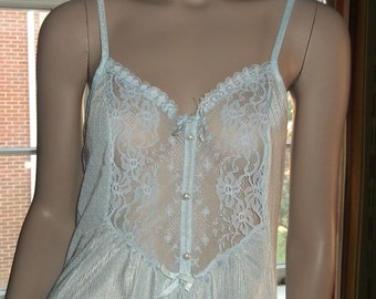 Large Nightgown See Through Lacy Bodice Light Blue Midi Ruffled Hem Bernette Faux Pearl Buttons