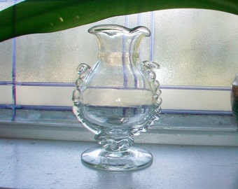 Vintage Art Glass Footed Vase 2 Available