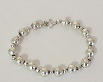 Bead Bracelet 8mm 925 Sterling Silver Beads on Chain gw15-577