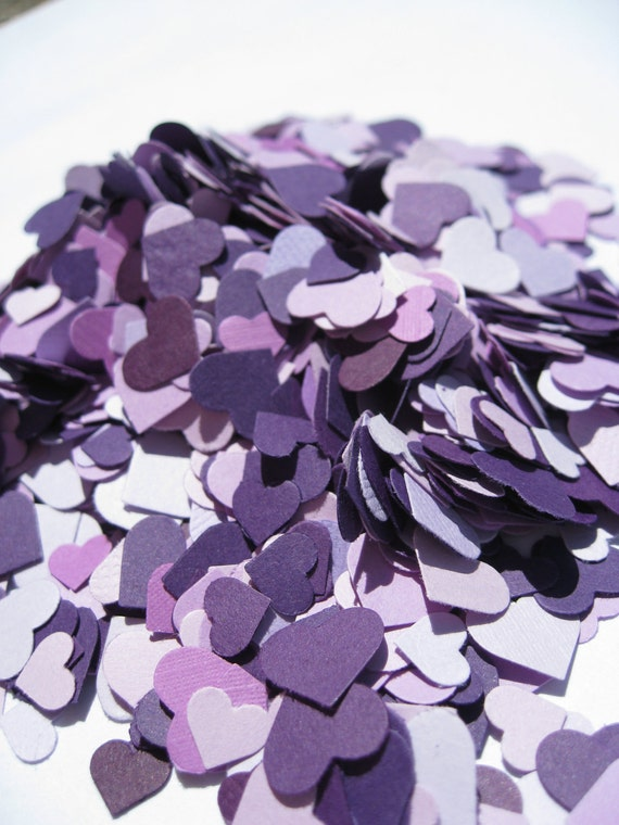 Over 2000 Mini Confetti Hearts. PURPLE MIX. Weddings, Showers, Decorations. ANY Colors Available.